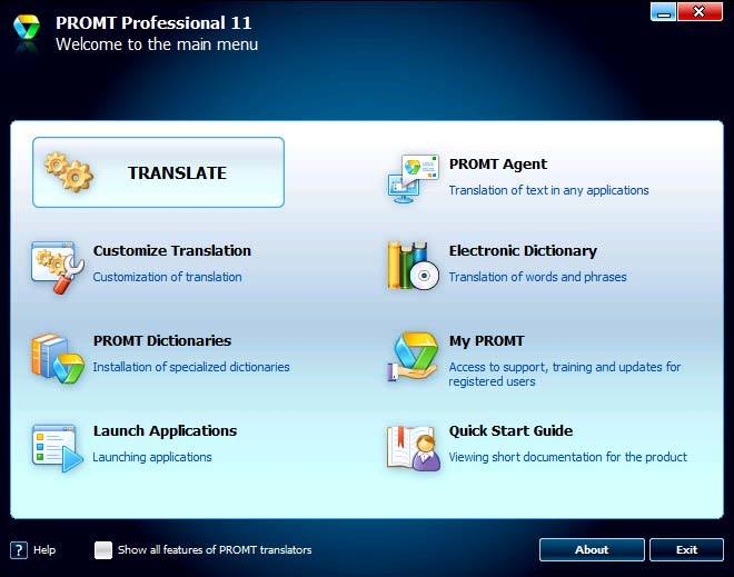 PROMT Professional 11 (one language pair) screenshot 1